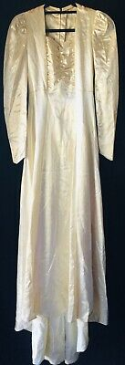 Vtg 1940s 40s ivory satin gathered bust lace inset button back wedding dress XS