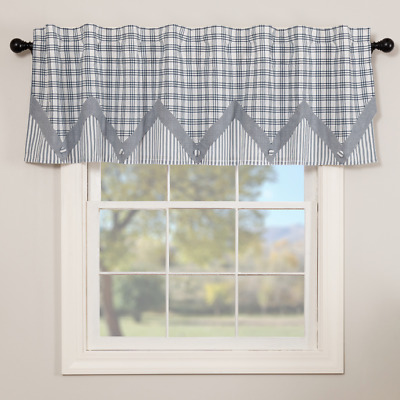 SAWYER MILL BLUE LAYERED Valance Window Curtain White Farmhouse VHC Brands 20x72