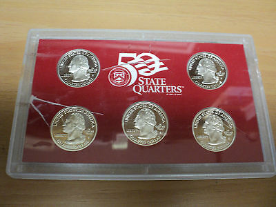 2002 U.S. Mint  50 State Quarters Silver Proof Set In Cracked case