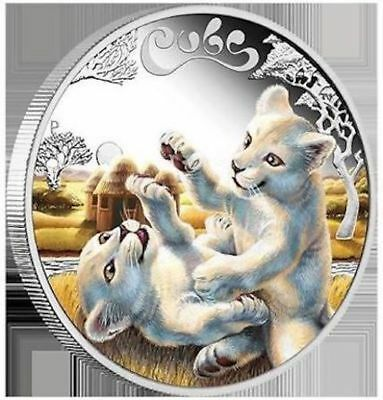 2016 White Lion Cubs Tuvalu 1/2 oz SIlver Proof 50c Half Dollar Coin Colorized
