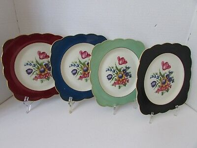 Royal Bayreuth Set Of 4 Luncheon Plates Bavaria Germany Squared W/gold Rim 8.75""