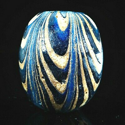 ORIGINAL OLD! JAVA Islamic Blue white Feather Bead Sand Core Form Collectible