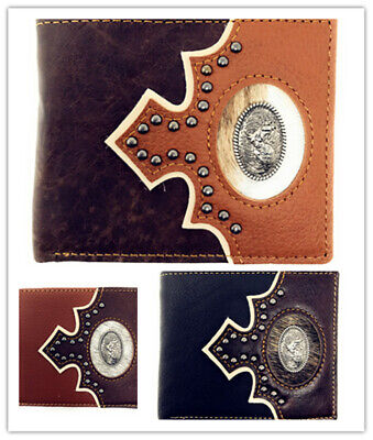 Western Genuine Leather Floral Tooled State Map Concho Mens Short Bifold Wallet