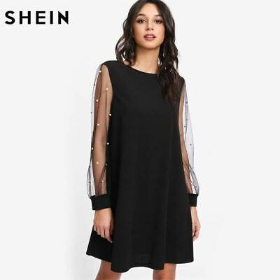d931624cc9 SHEIN Elegant Womens Dresses Pearl Beading Mesh Sleeve Tunic Dress Autumn  Black