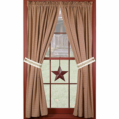 """Primitive Berry Vine Wine Check Country Unlined Curtain Panels, 63"""" 84"""" Lengths"""