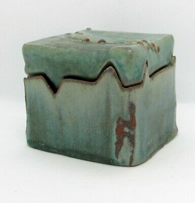 Arts & Crafts Ceramic Box & Lidded Jar Covered -Frogs - Green Glaze