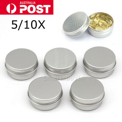Aluminium Empty Cosmetic Pot Lip Balm Jar Tin Container Silver Box Containers K