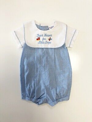 104c93b75 Alexis Thank Heaven For Little Boys Romper Size 6 Months Embroidered Outfit