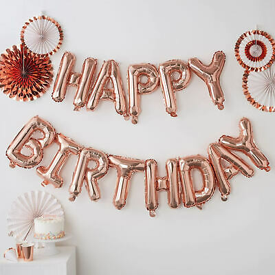 Giant Rose Gold Happy Birthday Balloon Set - Luxury Party Bunting Foil Script UK