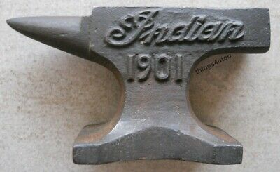 Indian Motorcycle Cast Iron Anvil Paperweight Salesman Jewelry Blacksmith #E170