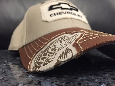 60678af79f3f2a Chevrolet Hat w/ Bass Fish Logo - Baseball Cap Fishing Hat OFFICIALLY  Licensed