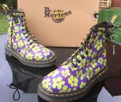 fd889d540222 Vintage Dr Martens 1460 purple yellow leather boots UK 4 EU 37 Made in  England