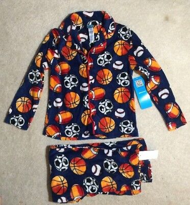 ee48f0aad JELLIFISH KIDS BOYS Fleece Pajama Set Pants   Button Down Shirt XS ...