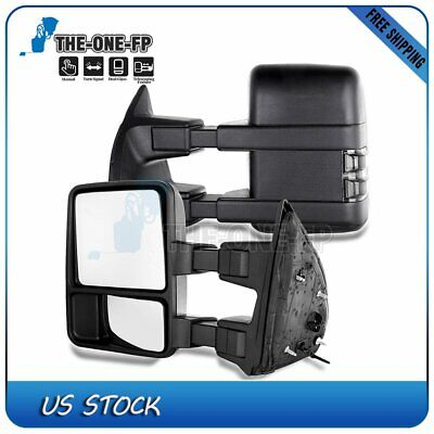 Fit 03-07 Ford F250 350 450 550 Manual Side Smoke Led Signal Tow Mirrors Pair