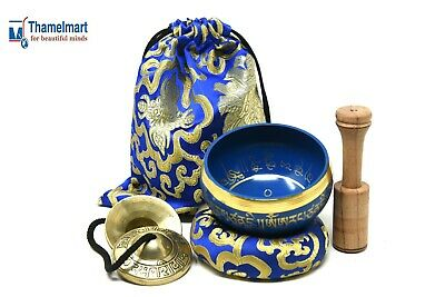 "4"" Tibetan MeditationYoga Singing Bowl Set withMalletCushion Tingsha & carry bag"