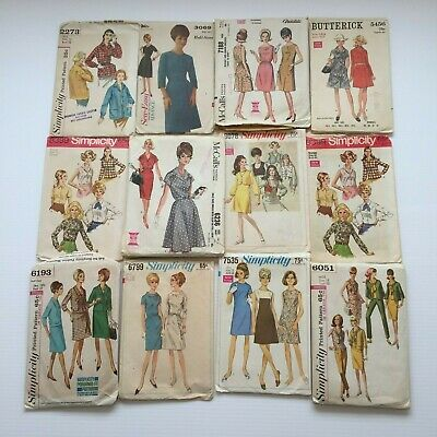 Lot of 50 Vintage Sewing Patterns 1950's 1960's 1970's Retro MCM Used Women's