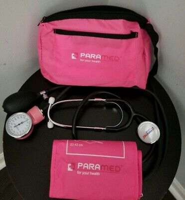 Manual Blood Pressure Cuff PARAMED Aneroid Sphygmomanometer & Stethoscope PINK