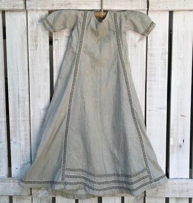 Antique Primitive Baby Childs long gown Dress late 1800 Old Fabric black & White