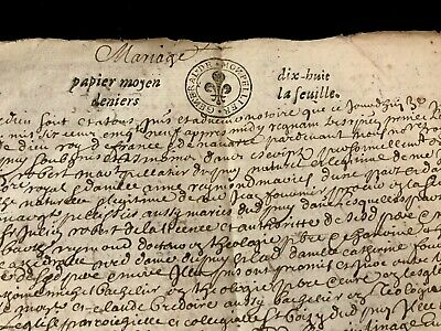 1659 Old Marriage Contract Document