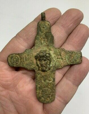 Ancient Byzantine Bronze Engraved Cross