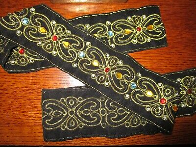 Rare  Black Faux Suede,gold Embroidery ,pearls ,coloured Bling Stones Trim