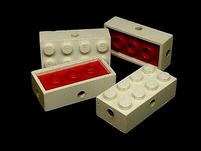 Lego Brick 2x4 with 4 Holes for Wheels, Opaque Red Under [7049a] - White x4