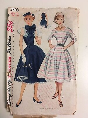 1950s Simplicity Vintage Sewing Pattern Misses One-Piece Dress Size 11 Bust 29