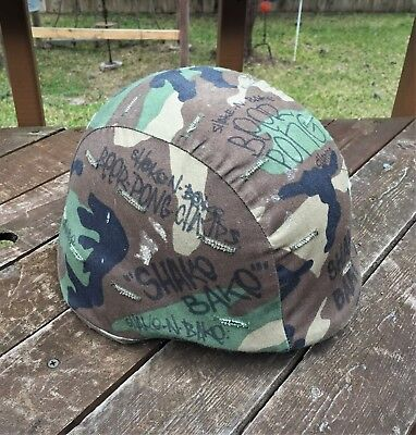 Vintage Us Army Surplus Unicor Pasgt Helmet W/ Camouflage Trench Art Cover