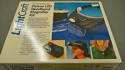 Deluxe LED headband magnifier headset craft hobby model tool Lightcraft NEW