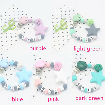 US Baby Teething Soother Bead Infant Dummy Clip Pacifier Chain Chew Toys