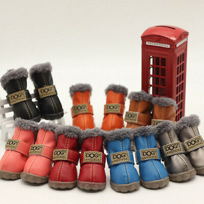 4pcs Pet Dog Rain Boots Feet Protective Cotton Booties Puppy Shoes Waterproof UK