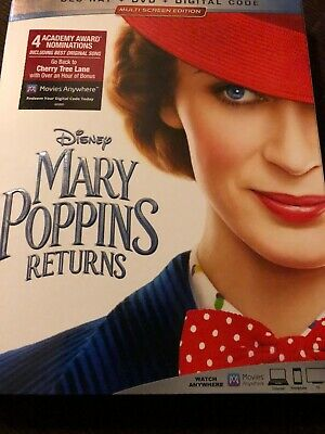 MARY POPPINS RETURNS (BLU-RAY DVD Digital 2018) Case+Artwork INCLUDED