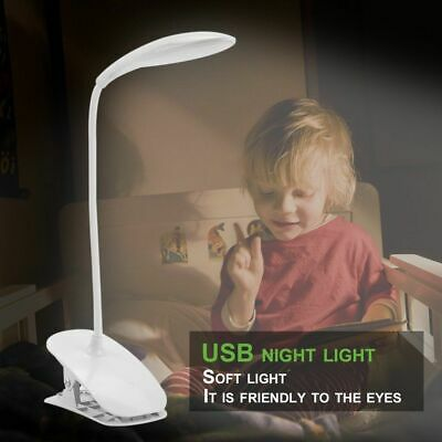 Flexible USB Rechargeable Light Dimmable Clip-On Desk Table Reading Book Lamp US