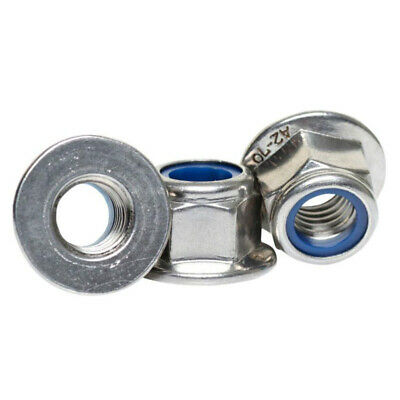 10X M4 M5 M6 A2 Stainless Steel Flanged Nyloc Nuts Flange Nuts Din 6926
