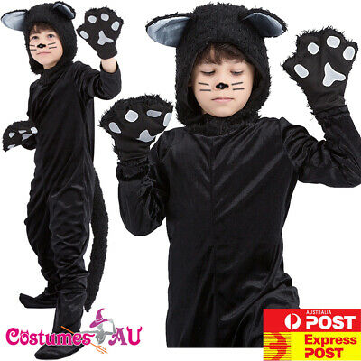Child Black Cat Costume Book Week Animal Kids Zoo Party Boys Girls Jumpsuit
