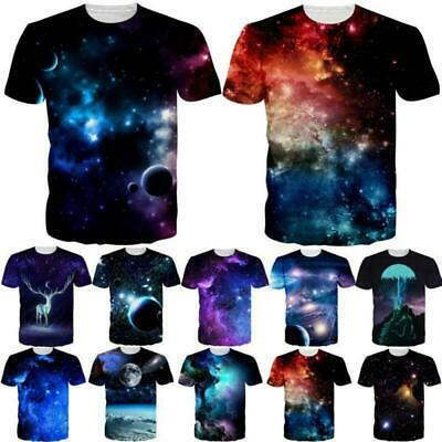 Galaxy Space Nebula 3D Print Mens Women Casual Short Sleeve T-Shirt Graphic Tops