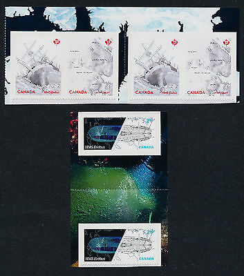 Canada 2855a-6 gutter pairs MNH Franklin Expedition, HMS Erebus, Map, Ship