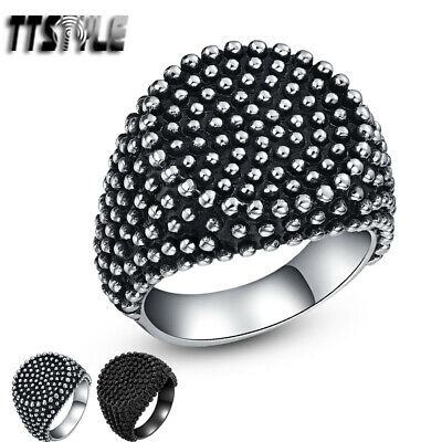 High Quality TTstyle 316L Stainless Steel Round Stud Ring Silver/Black NEW