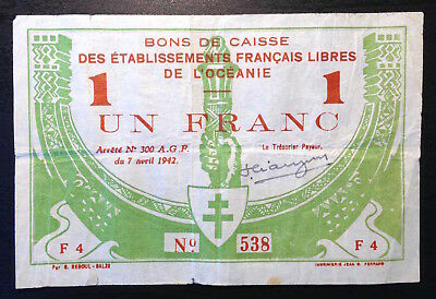 French Oceania, 1 Franc 7-4-1942, P-8 Sig 1 hand signed only 76,000 printed F-VF