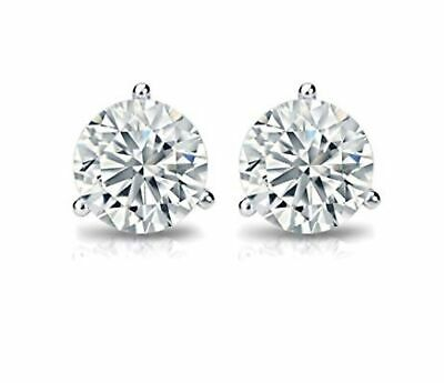 1.00 Ct G/SI2 Natural Martini DIAMOND Stud Earrings Round Solid 14K White Gold