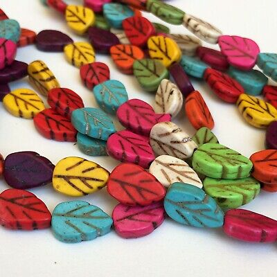 Gemstone Bead 40cm Strand 13x9mm Mixed Multi Colour Howlite Stone Leaf Beads