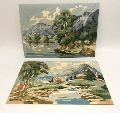Vintage Set Of 2 Paint By Number Mountain Landscape River Rockies 14 X 10