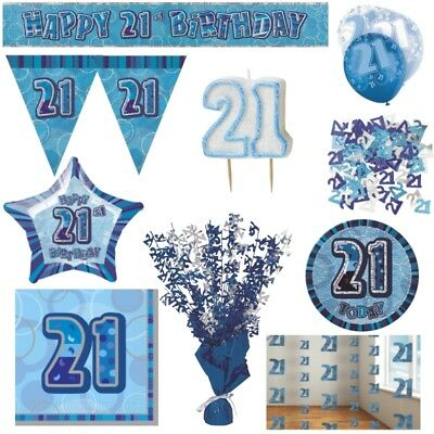 Blue Glitz 21st Birthday Party Supplies Decorations Confetti Strings Napkins