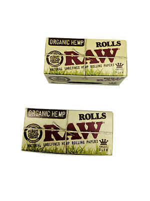 RAW Kingsize Slim Organic Hemp 5 Meter Rolls Smoking Rolling Paper - 2 Pack