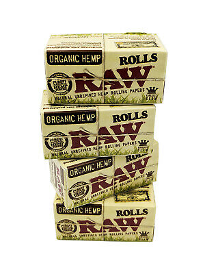 RAW Kingsize Slim Organic Hemp 5 Meter Rolls Smoking Rolling Paper - 4 Pack
