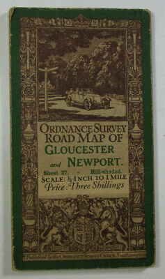 1914 Old Antique OS Ordnance Survey Half-Inch Map 27 Gloucester Monmouth Newport