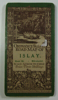 1908 Old Antique OS Ordnance Survey Half-Inch Road Map 25 Islay Hill-Shaded