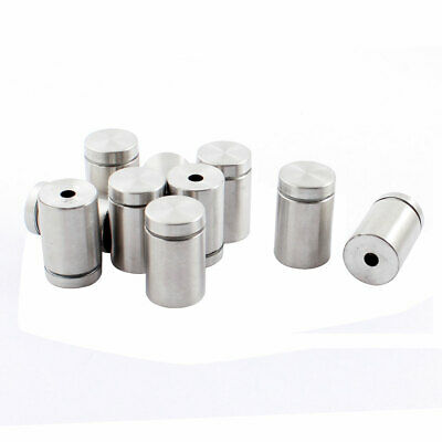 Stainless Steel Advertising Nail Standoff Glass Screw Clamp Silver Tone 10 Pcs