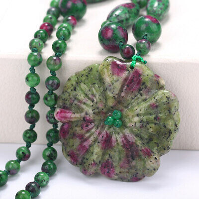 Fashion Women Necklace Flowers Pendant Epidote Charm Chinese Style Accessories