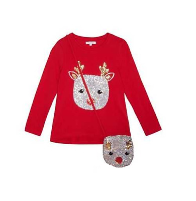 Debenhams Bluezoo Red Sequin Reindeer Top & Bag Set 8-9 Years TD181 AA 17